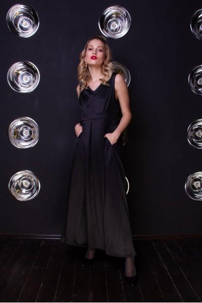Платье макси черное 40639