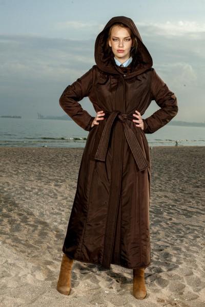 Пуховик длинный кимоно коричневый 40460