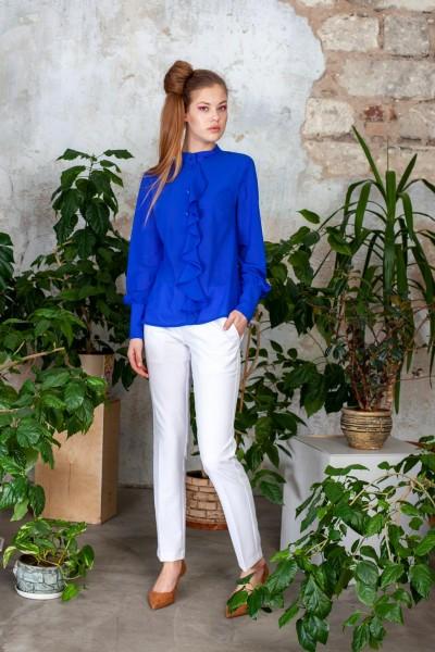 Блуза синяя шифоновая с воланом 40548