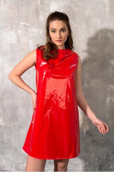Платье красное глянцевое трапеция мини 40673