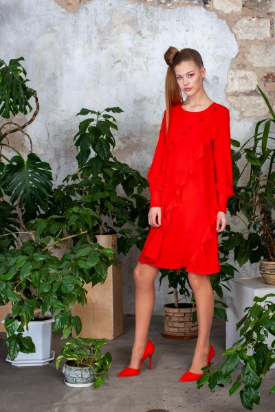 Платье красное с воланами 40535