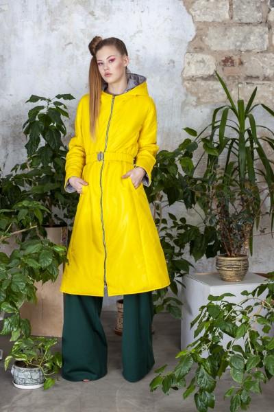Куртка удлиненная демисезонная желтого цвета 40530