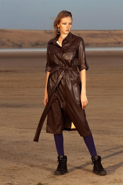 Платье из искусственной кожи коричневое 40599