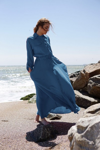Платье-рубашка синее макси 40380b