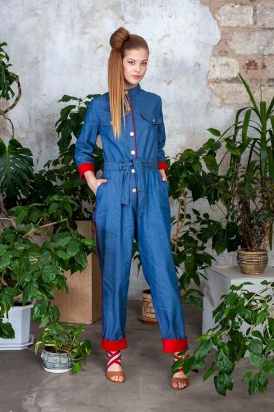 Комбинезон джинсовый с красными отворотами 40525